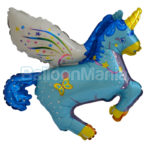 Balon folie Magic Unicorn albastru 60 cm