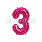Balon folie cifra 3 magenta
