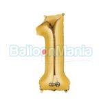 Balon Folie Cifra 1 auriu, 86 cm 28244