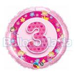 Balon folie Cifra 3 roz 45 cm Q26297