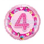 Balon folie Cifra 4 roz 45 cm