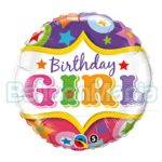 Balon folie Birthday girl 45 cm 25228