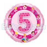 Balon folie cifra 5 roz cu Heliu 45 cm Q26315-HE