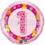 Balon folie cifra 1 roz cu Heliu 45 cm Q26281-HE