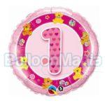 Balon folie Cifra 1 roz 45 cm Q26281