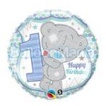 balon-folie-teddy-bear-1st-birthday-albastru-45cm