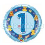Balon folie Cifra 1 albastru 45 cm Q26277