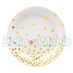 Farfurii albe cu buline aurii 18 cm 6/set PF-TPZGB