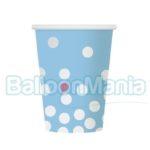 Pahare carton albastru cu buline argintii 6/set PF-KPSGN