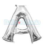 Balon Folie Litera A argintiu, 33 cm 33011