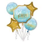 Buchet 5 baloane folie  Hello Baby, Blue 39732-HE