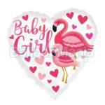 Balon folie Baby Girl Flamingo, 43 cm 39633