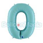 Balon Folie Cifra 0 albastru pal, 102 cm 060PB