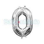 Balon Folie Cifra 0 argintiu, 33 cm 33074