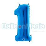 Balon Folie Cifra 1 albastru, 102 cm 001B