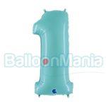 Balon Folie Cifra 1 albastru pal, 102 cm 061PB