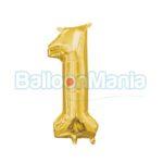 Balon Folie Cifra 1 auriu, 33 cm 33077