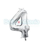 Balon Folie Cifra 4 argintiu, 33 cm 33082