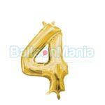 Balon Folie Cifra 4 auriu, 33 cm 33083