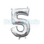 Balon Folie Cifra 5 argintiu, 33 cm 33084