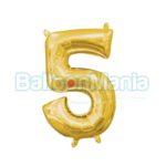 Balon Folie Cifra 5 auriu, 33 cm 33085