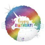 Balon folie holografica Unicorn Birthday, 22 cm 32882H