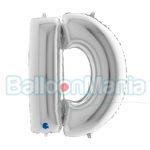Balon Folie Litera D argintiu, 102 cm 239S