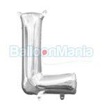 Balon Folie Litera L argintiu, 33 cm 33034