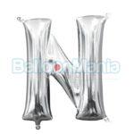 Balon Folie Litera N argintiu, 33 cm 33038