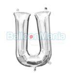 Balon Folie Litera U argintiu, 33 cm 33052