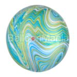 Balon folie Marblez albastru-verde, 38 x 40 cm 41393