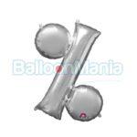 Balon Folie Simbol % argintiu, 33 cm 33070
