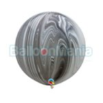 Balon latex, superagata negru & alb, 75 cm 35206