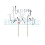 Decor tort Happy Birthday argintiu KPT11-018M