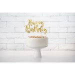 Decor tort Happy Birthday auriu KPT11-019M