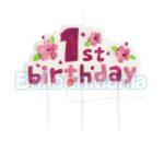 Lumanare 1st Birthday, roz S1BR-MM