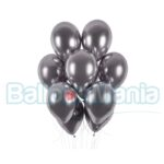 Balon latex shiny argintiu grafit, 32 cm GB120.90