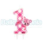 Lumanare 1 an ursulet roz, PF-SJRM