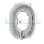 Balon folie Cifra 0 argintiu, 100 cm 090