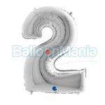Balon folie Cifra 2 argintiu, 100 cm 092