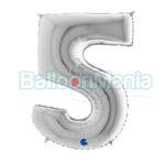 Balon folie Cifra 5 argintiu, 100 cm 095