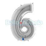 Balon folie Cifra 6 argintiu, 100 cm 096