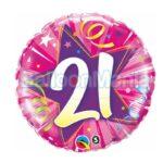 Balon folie 21 stea roz 45 cm 24007