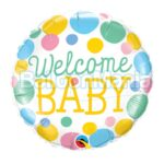 Balon folie Welcome Baby Dots, 45 cm 55391