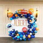 Semiarcade organice din baloane latex si folie pe perete rotund, ARCO4